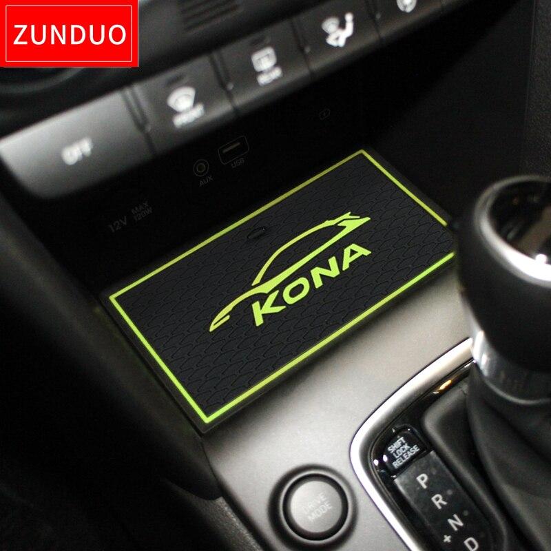 ZUNDUO Gate Slot Pad For Hyundai Kona 2017 2018 2019 Kauai Interior Door Pad Cup Holders Non-slip Mats RED WHITE GREEN 19