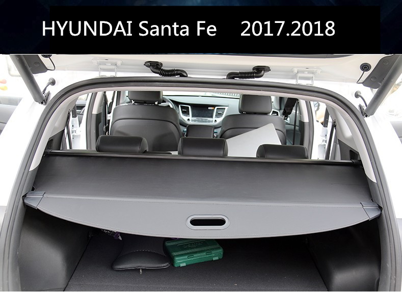 Car Rear Trunk Security Shield Cargo Cover For HYUNDAI Santa Fe 2017.2018 High Qualit Black Beige Auto Accessories car rear trunk security shield shade cargo cover for toyota highlander 2009 2010 2011 2012 2013 2014 2015 2016 2017 black beige