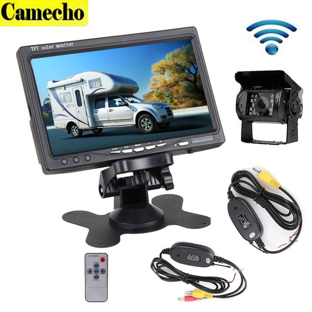 """12 V 24 V Visão Nocturna do IR de Visão Traseira Do Carro Sem Fio Kit de Backup Camera + 7 """"Monitor TFT LCD Para O Caminhão/Caravan//Reboques Campistas"""