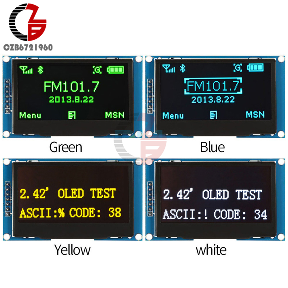White Blue Green Yellow 2.42 2.42 inch LCD Screen 12864 OLED Display Module IIC I2C SPI Serial for C51 STM32 SSD1309 1 3 inch 128x64 oled display module blue 7 pins spi interface diy oled screen diplay compatible for arduino