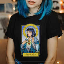Fashion Streetwear Pulp Fiction Graphic Tees Women Clothes Gothic O-neck Summer Party Lady Tshirt Top Casual Plus Size Tumblr(China)