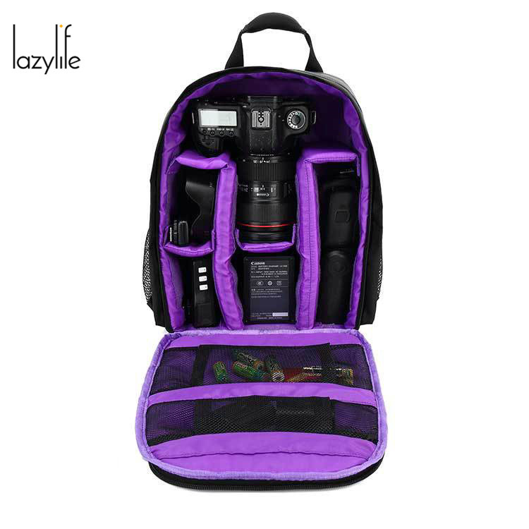 LAZYLIFE Small Bags Video Photo Digital Camera Shoulders Padded Backpack Bag Case Waterproof Shockproof for Canon Nikon DSLR caden m5 camera bag backpack waterproof canvas gray photo video carry case digital camera case for dslr canon nikon