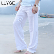 LLYGE 2018 Autumn Men's Cotton Linen Wide Leg Pants Fashion Casual 느슨한 망 바지 Solid Color 레저 Men 긴 casual Pants(China)