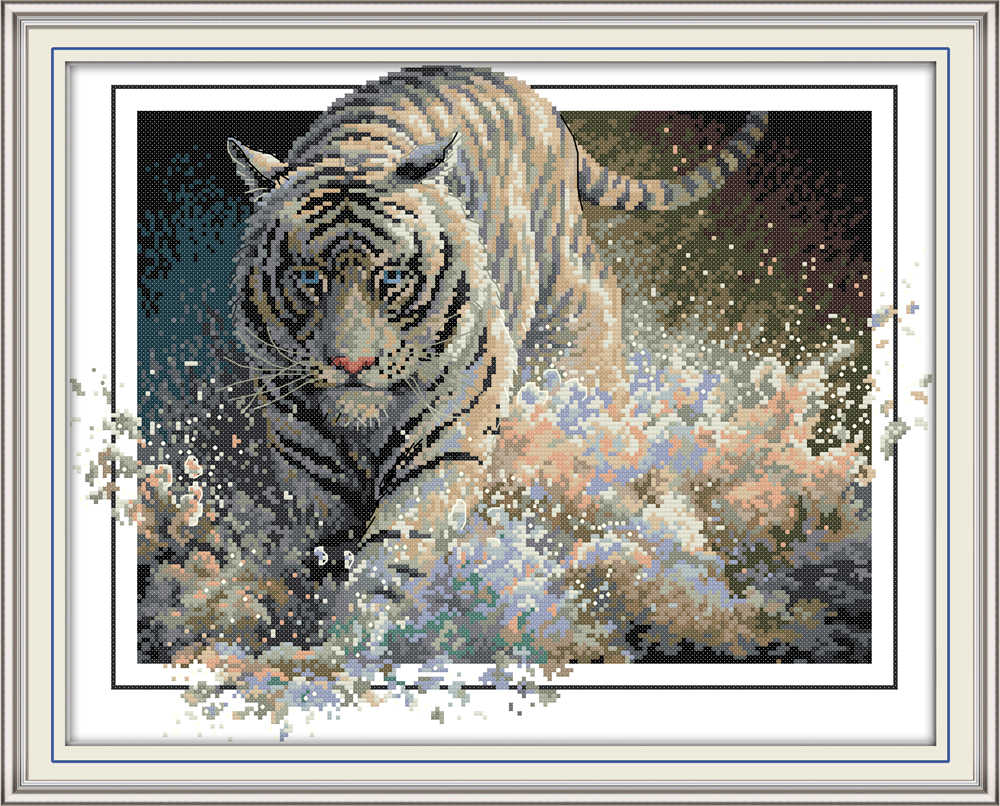 Tiger 4 cross stitch kit aida 14ct 11ct count print canvas cross stitches   needlework embroidery DIY