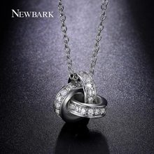 NEWBARK Silver Color Triple Circles Necklaces Round Pendant With Cubic Zirconia Accesorios Mujer High Quality Jewelry