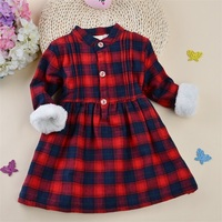 New Plaid Girls Dresses Winter Warm Girls Clothes Cotton Children Dresses Toddler Clothing Baby Girl Clothing