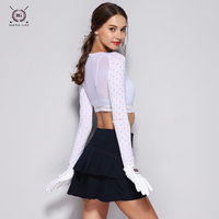 BLK TEE women golf shirts for sunscreen inside wear as long arm sleeve summer breathable UV proof arm sleeve shirt white S~L