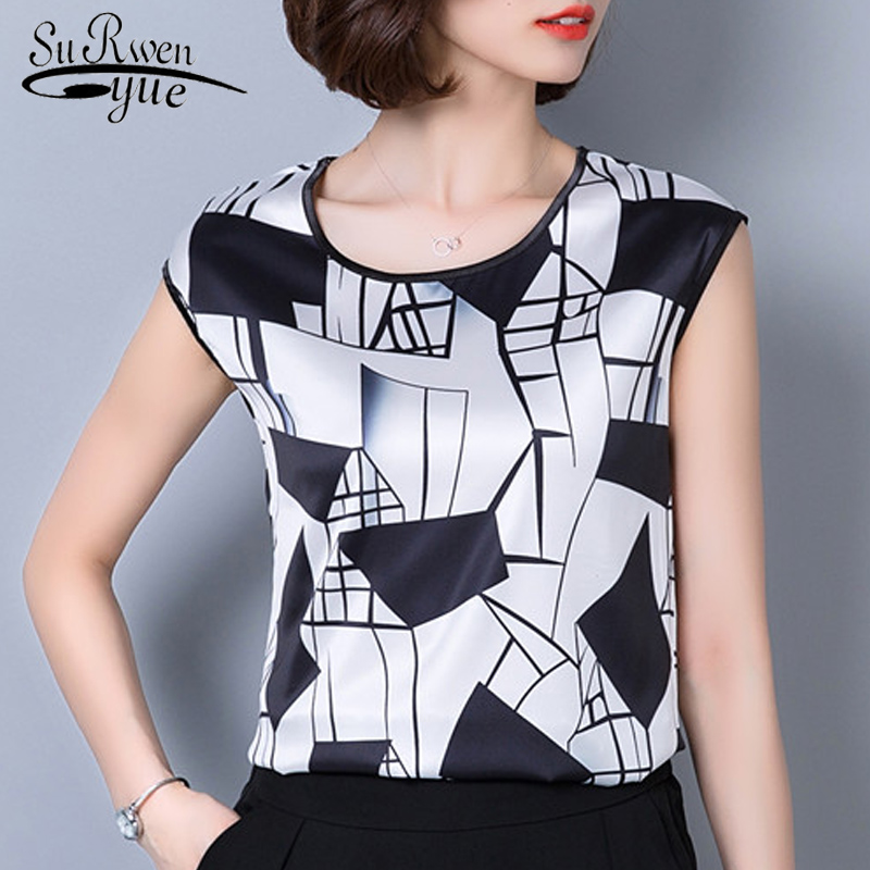 2019 new summer sleeveless chiffon women   blouse     shirt   geometric striped women's clothing plus size women tops blusas D733 30
