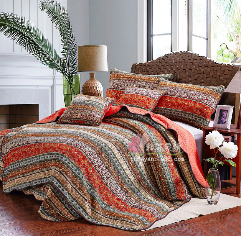 New pattern Bedding article 1 bedspread 2 pillowcases simple Countryside Quilt Set Queen Quilted Bedspreads