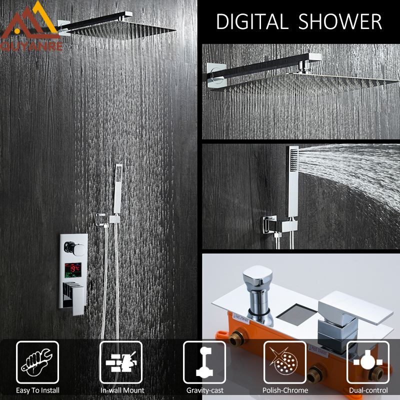 купить Quyanre Concealed Chrome Shower Faucets Set Rain Shower Head Digital Temperature Display Mixer Tap Bathroom Shower Faucets Set по цене 6731.75 рублей