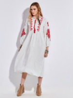 White Boho Dress Cotton 2017 Vintage Floral Embroidery Lantern Sleeve O Neck Tassel Casual Mid Calf