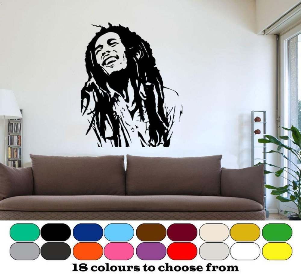 Online Clic Bob Marley Wall Art Graphic Vinyl Mural Sticker Cool Hiphop Home Decor Boy S Bedroom Decoration Removable D291 Aliexpress Mobile