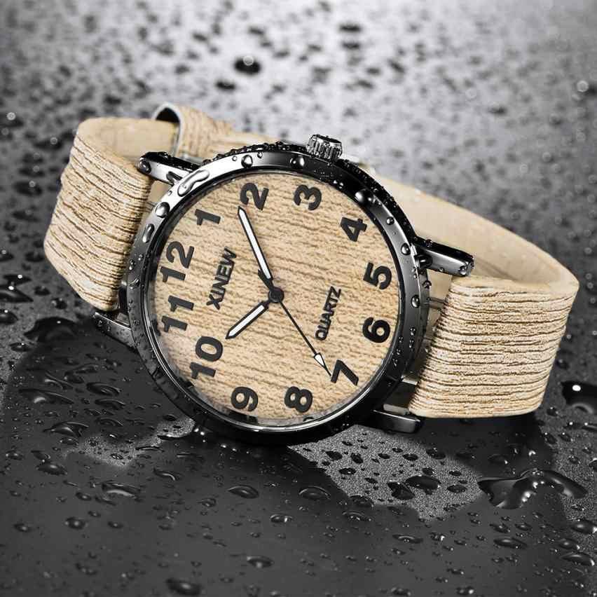 Reloj de cuarzo de cuero Retro de imitación de madera con textura de madera para hombres y mujeres