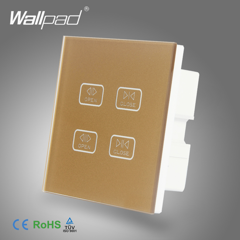 4 Gang 1 Way Curtain Switch Wallpad Gold Crystal Glass Switch 4 Gang Touch Double Control Curtain Window Shutter Blinder Switch 4 gang curtain switch wallpad black tempered glass switch 4 gang touch double curtain window shutter blinder wall switches