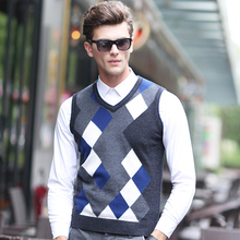 2016 New Fashion Men 100% Wool Sweater Grey Wool V Neck Sweater Vest