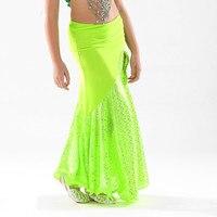 New 8 Color Belly Dance Wear Skirts Children Costume Professional Performances Split Skirt Dress