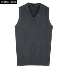 Бренд Brother Wang, Осень-зима, мужской вязаный жилет, свитер, деловой Повседневный Классический хлопок, v-образный вырез, сплошной цвет, пуловер для мужчин