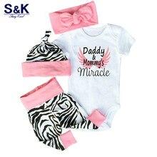 4 things. Clothing for newborn girls  toddlers short sleeve body Tops + Zebra pants + headband + cap dress for babies Set Xy-276