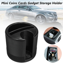 Universal Black ABS Plastic Mini Car Holder Cup Coins Cards Gadget Independent Storage