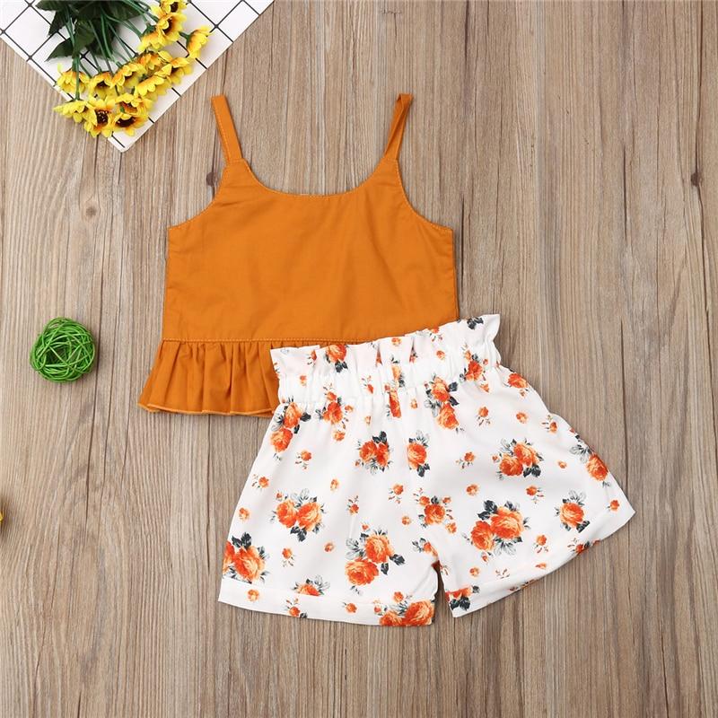 Одежда для маленьких девочек, 2 шт., одежда для девочек, хлопковая футболка, топ + шорты с цветочным принтом, штаны, комплект летней одежды для ...