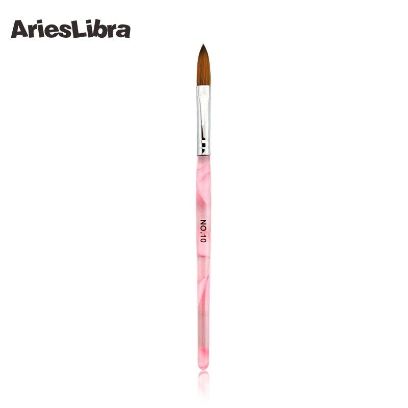 Фото AriesLibra 10pcs/SET 10# Sable acrylic nail brushes Nail Brush set Professional Nail Art Dotting Brush