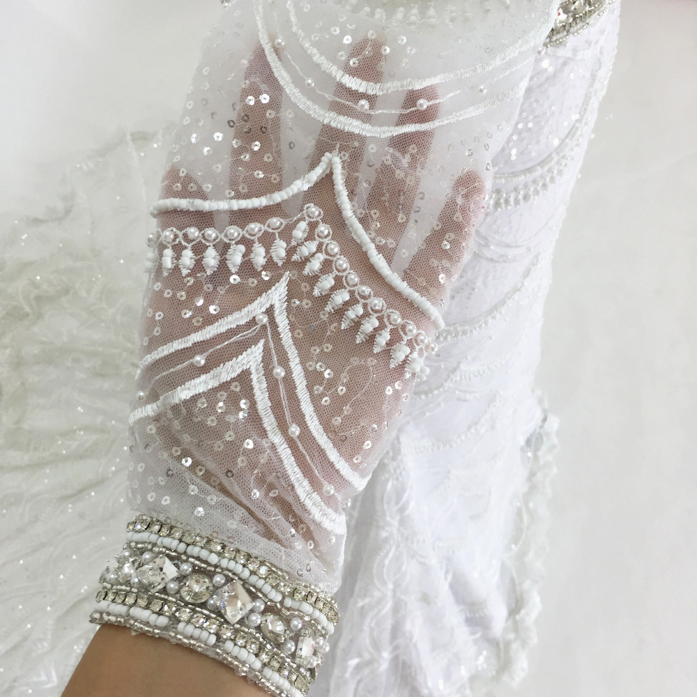 spetsar brudklänningar 2017 sjöjungfru brudklänning fulla pärlor - Bröllopsklänningar - Foto 4