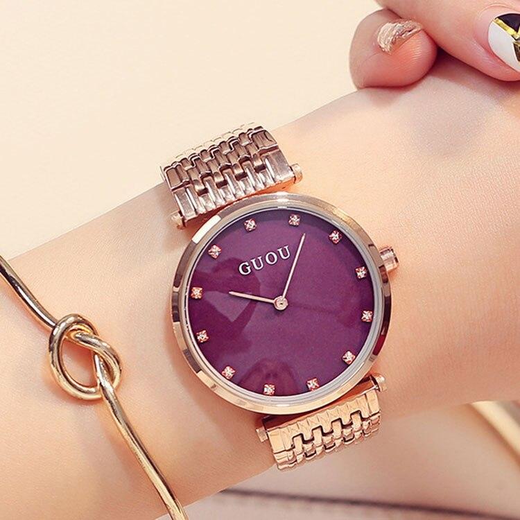 Mode dames montre femmes Simple mince strass or Rose montres à Quartz femmes montres robe montre-bracelet pour les femmes relojes