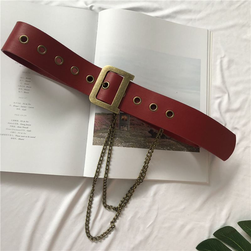 Korean fashion women vintage letter buckle chain belt PU leather wide dress coat waistband 4.8cm width b171(China)