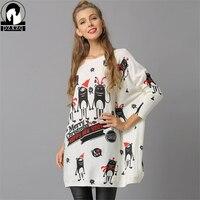 Novo Estilo de Moda Dos Desenhos Animados Engraçado Feliz Ano Novo de Lã de Impressão camisola Sexy de Slash pescoço Das Mulheres Camisola De Malha Solta tamanho Grande Pullover