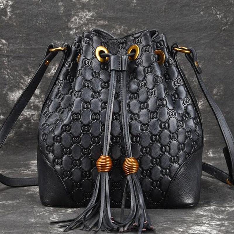 Nowy Retro prawdziwe skórzane damskie krzyż ciała torba dla kobiety dorywczo mody klasyczny torby listonoszki typu tote projektant luksusowe wiadro torba w Torebki na ramię od Bagaże i torby na  Grupa 2
