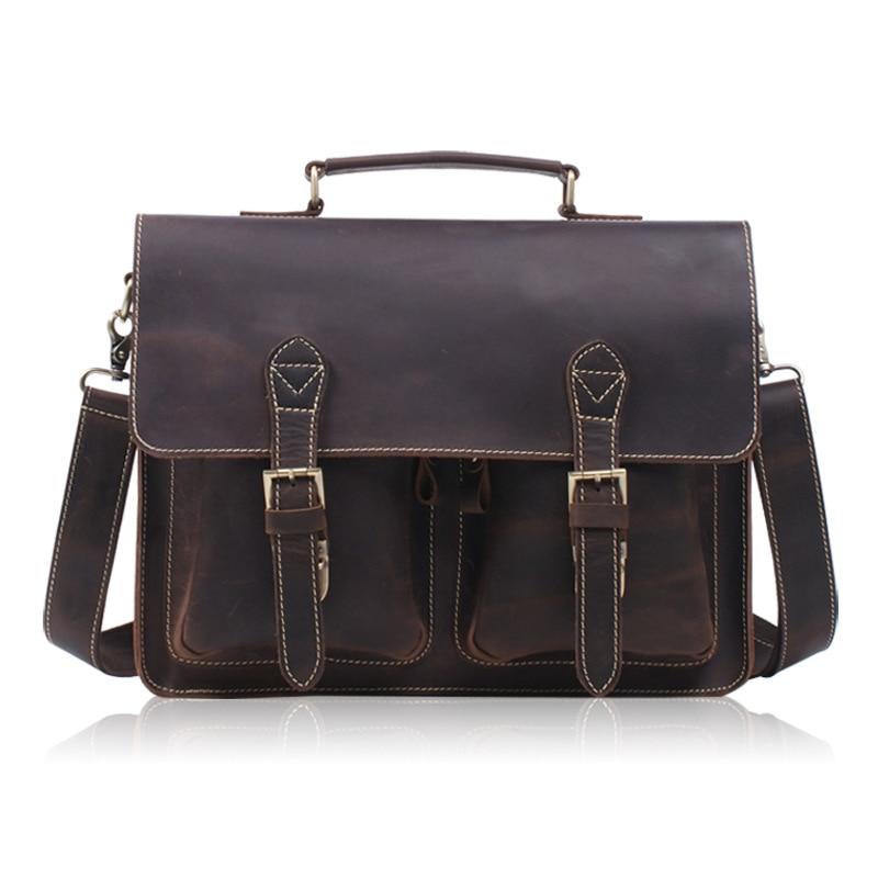 2018 New Men Vintage Genuine Leather Cowhide High Quality Handbag Briefcase Business Messenger Shoulder Bag handbags все цены
