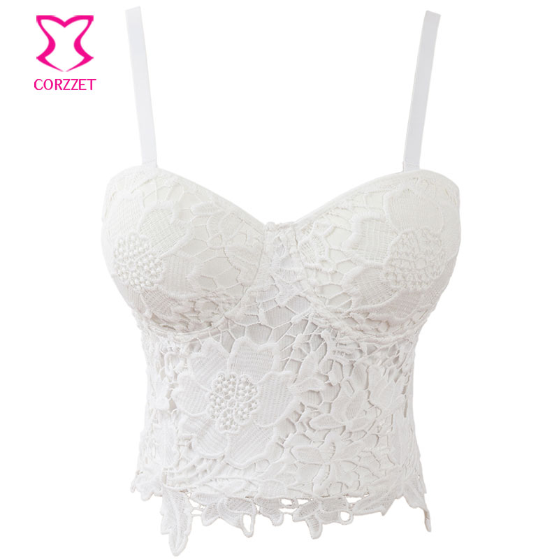 fdd6a0eb26 White Floral Lace Bralette Crop Top Bustier Bra Push Up Brassiere Sexy Plus  Size Bras For Women Soutien Gorge(Convertible Straps-in Bras from Underwear  ...