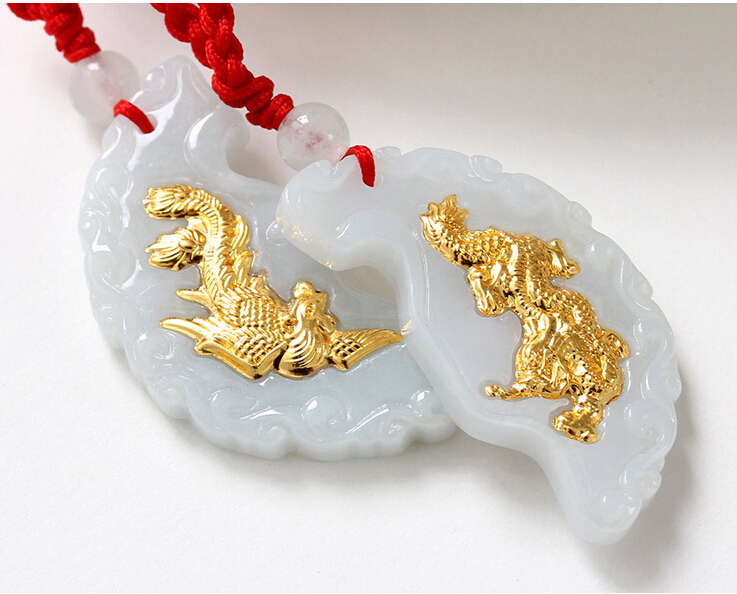 A Grade Natural White Hetian 24K Yellow gold Dragon Phoenix Pendant With Certificate