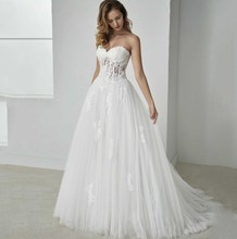 Plus Size Wedding Dress With Corset Bodice Top Lace Up Back Sweetheart Appliqued Court Train Bridal Pricess Wedding Dress