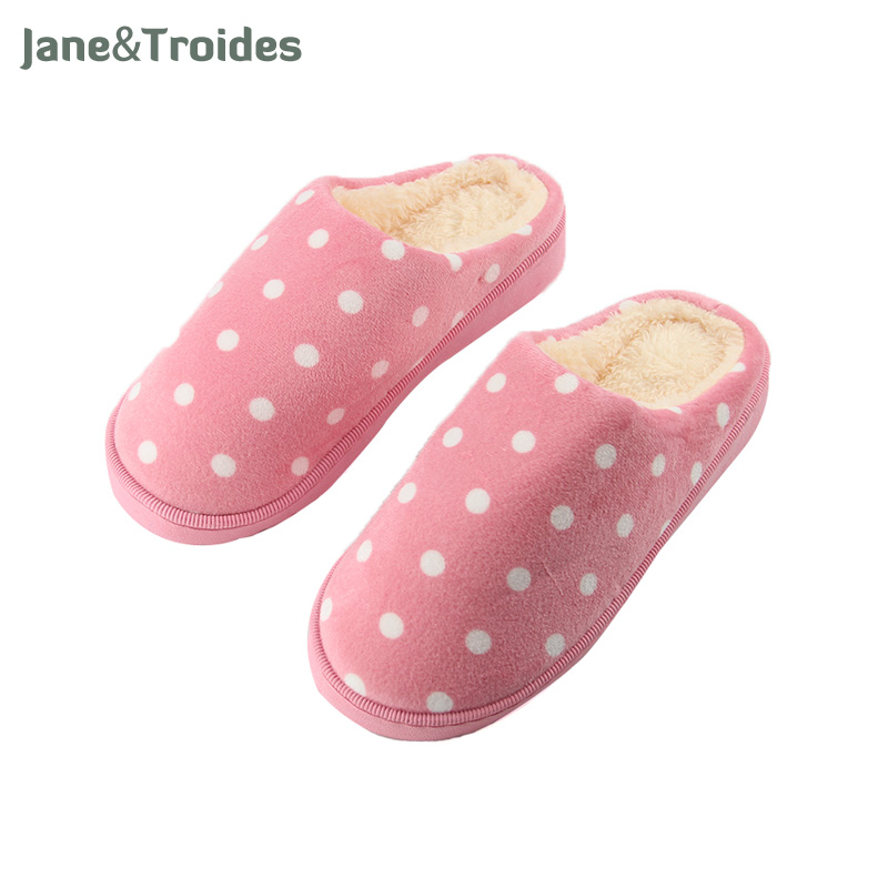 Winter Thicken Home Women Slippers Polka Dot Fleece Warm Anti Slip Flip Flops Comfortable Plush Sandals Fashion Women Shoes 2017 new anti slip women winter martin