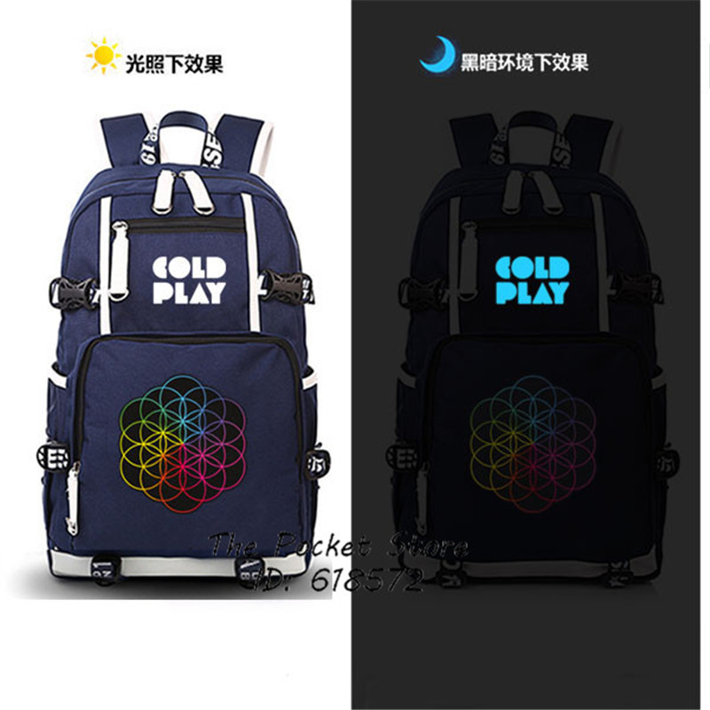 New Rock Music Band Coldplay Printing Backpack Men Large Capacity Travel Bags Canvas School Bags Laptop Backpack Coldplay Bags