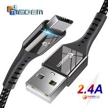 TIEGEM Micro USB кабель 2.4A нейлон Быстрая зарядка USB кабель для передачи данных для samsung Xiaomi Android мобильный телефон usb зарядный шнур 1 м 2 м 3 м