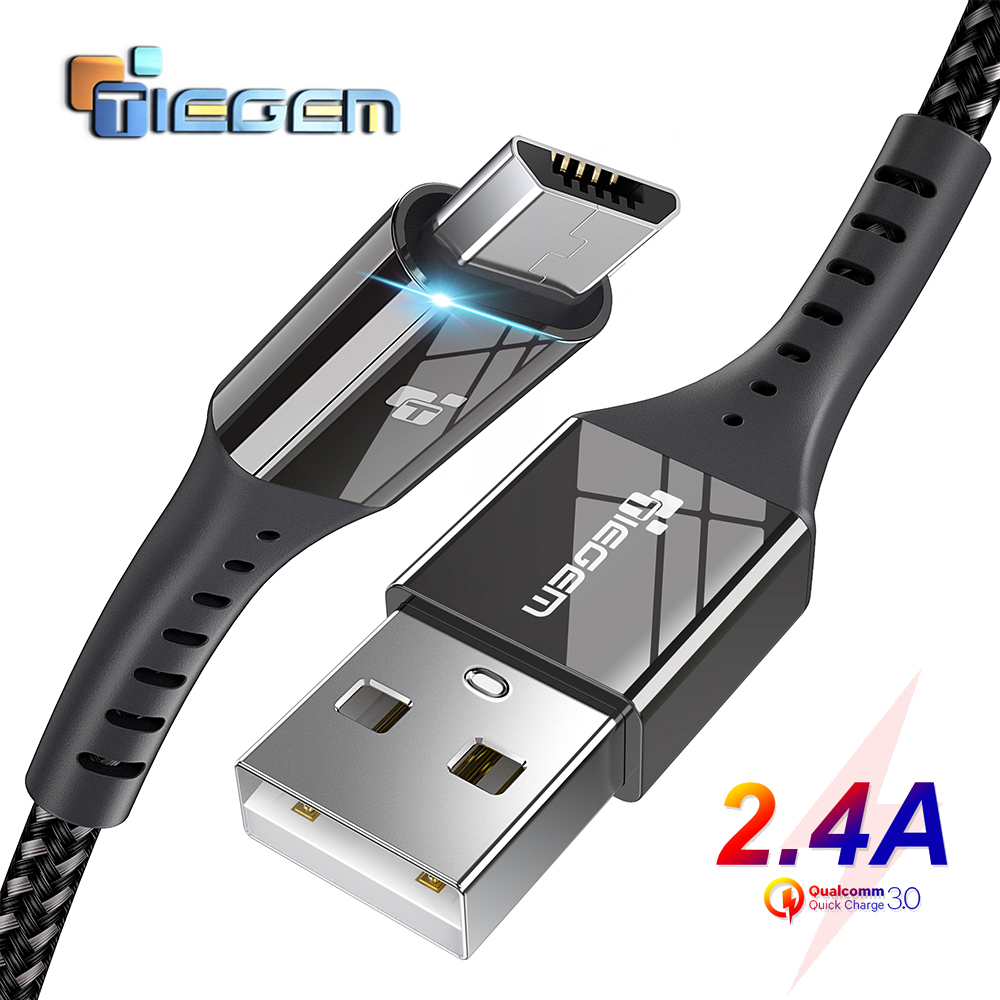 TIEGEM Micro USB Cable 2.4A Nylon Fast Charge USB Data Cable for Samsung Xiaomi Android Mobile Phone USB Charging Cord 1M 2M 3M|cable mobil|cable formicro usb cable 2a - AliExpress