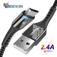 TIEGEM Micro Cavo USB 2.4A Nylon Veloce Carica USB Cavo Dati per Samsung Xiaomi Android Del Telefono Mobile Cavo di Ricarica USB 1M 2M 3M
