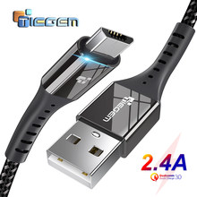 TIEGEM Micro USB Cable 2.4A Nylon Fast Charge USB Data Cable for Samsung Xiaomi Android Mobile Phone USB Charging Cord 1M 2M 3M(China)