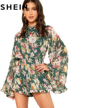 SHEIN Summer Beach Vacation 2018 Women Backless Floral Playsuit Exaggerated Bell Ruffles Sleeve Frill Detail Boho Chiffon Romper