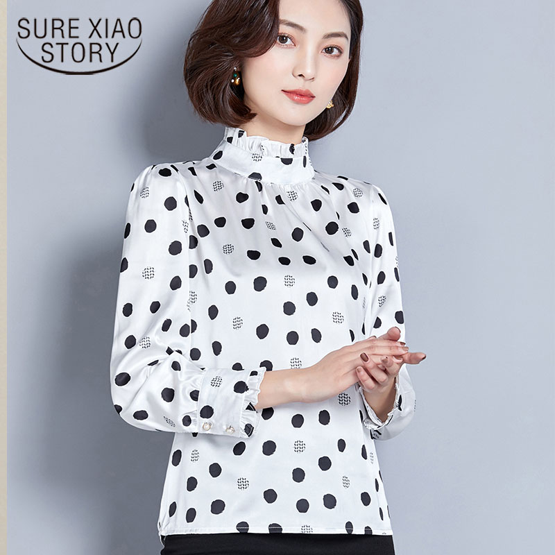 2019 Spring New Loose Big Size Shirt Vertical Collar Long Sleeve Silk Shirt Crop Top Women Riverdale Shirt Women Tops 2694 50