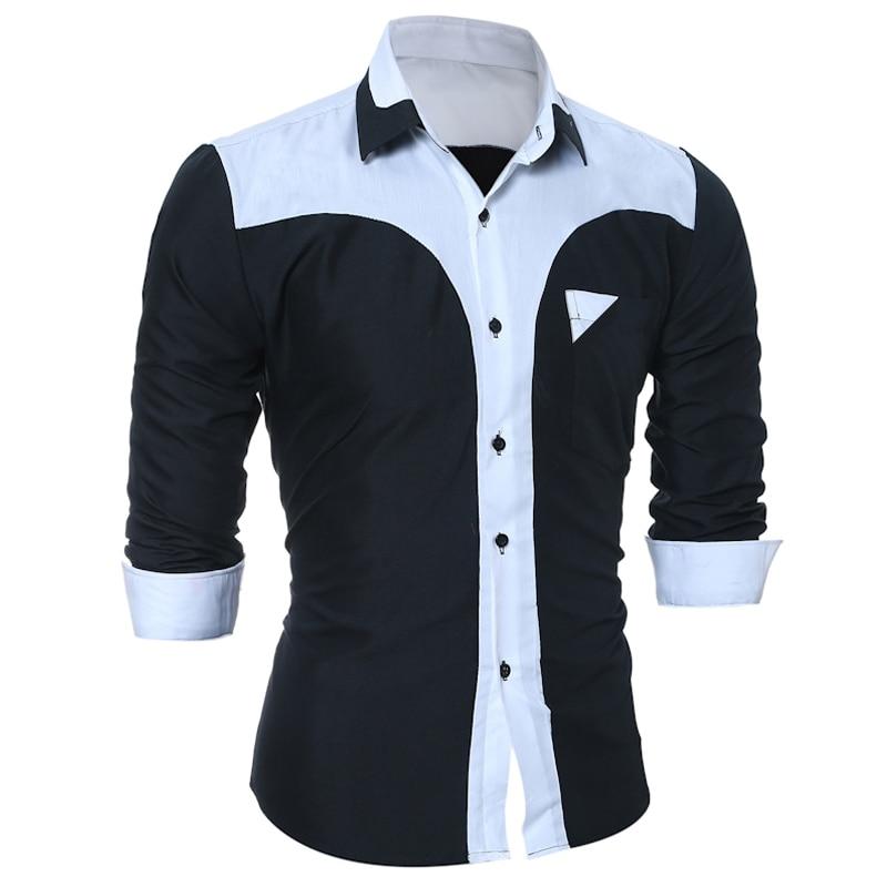 WSGYJ Brand 17 Fashion Male Shirt Long-Sleeves Tops Fashion Youth Hit Color Mens Dress Shirts Slim Men Shirt 3XL 7