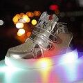 Girls shoes nueva rhinestone sneakers kids shoes girls princess party led lindo niños niñas entrenadores shoes con luz