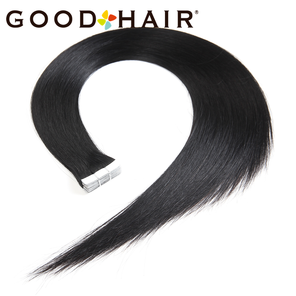 GOOD HAIR 20Pcs/Pack Machine Made Remy Hair Tape In Human Hair Extensions Brazilian Straight Skin Wefts US Pre Colored Tape Hair