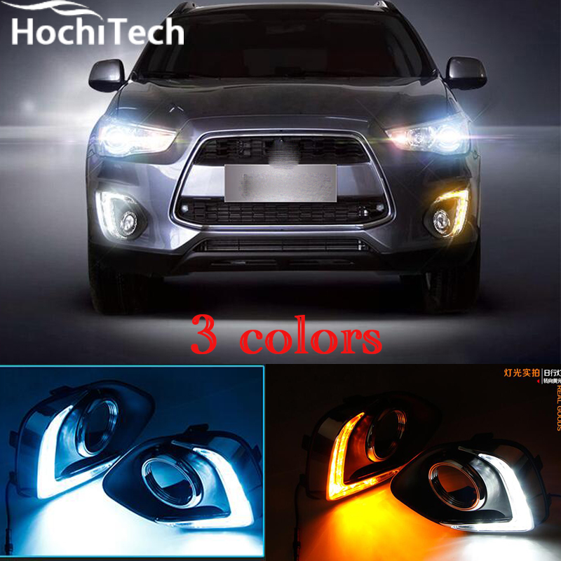 3 colors white yellow ice blue led drl daytime running light daytime driving led fog lamp for Mitsubishi ASX 2013 2014 2015 купить недорого в Москве