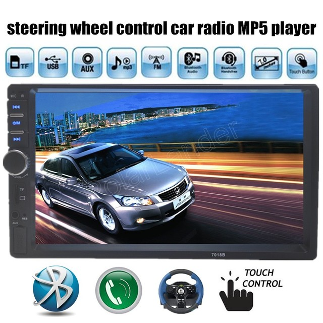 New 7 inch Auto Radio Player Stereo Video 2 din Car USB TF MP4 MP5 touch screen Bluetooth FM steering wheel control audio