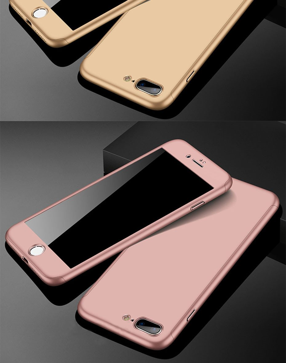 360 Degree Full Cover Phone Shell With Tempered Glass Case For iPhone Models 18