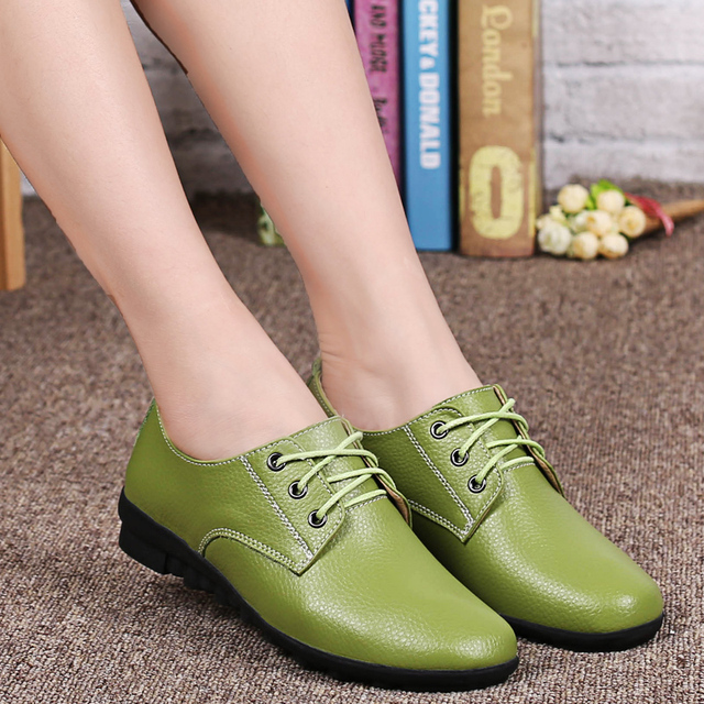 2016 genuine Leather oxford Shoes single shoes woman ladies girls lace-up fashion green black casual flats shoes