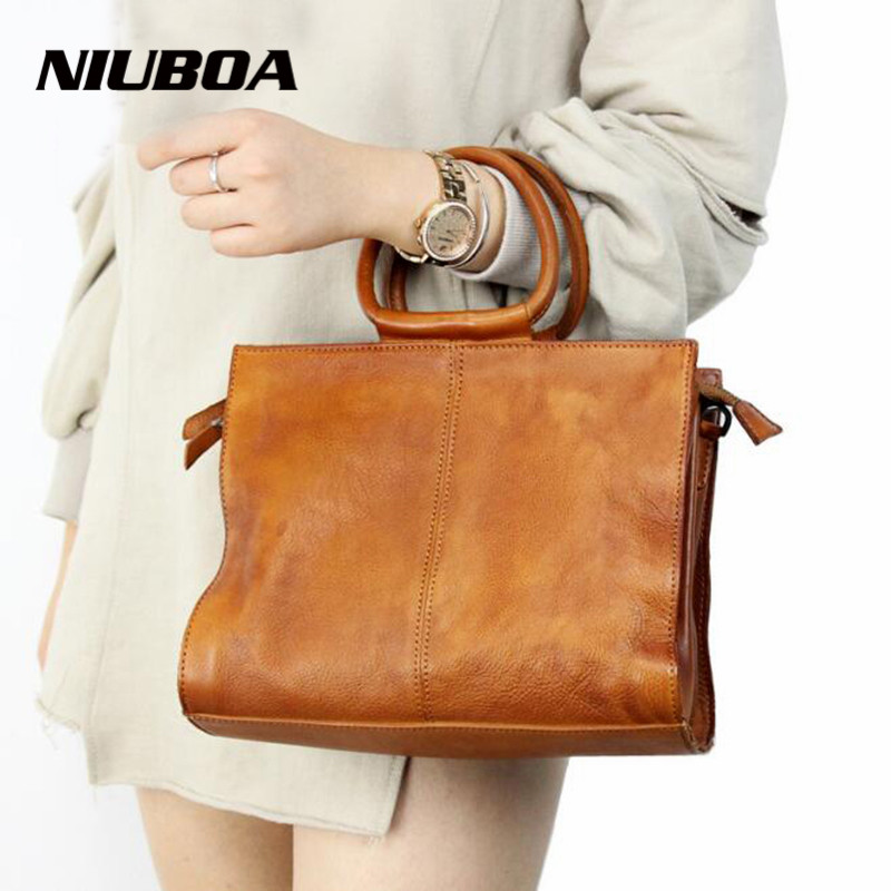 NIUBOA 100% Real Leather Women Handbags Vintage Cowhide Genuine Leather Women Shoulder Messenger Bag Elegant Tote Handbags niuboa bag female women s 100